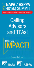 Advisors & TPAs: Don't Miss the NAPA/ASPPA 401(k) SUMMIT 2013!
